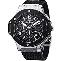 Megir Men's Black Dial Chronograph Casual Sport Quartz Watch