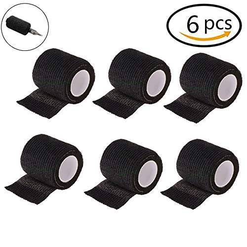 Tattoo Grip Cover - CINRA 6pcs Black Disposable Cohesive Tattoo Grip Cover Wrap, Self-Adhesive Bandages Handle Grip Tube for Tattoo Machine Grip Accessories, Sports Tape