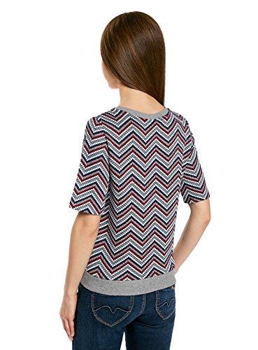 oodji Collection Mujer Suéter de Jacquard con Decoración Geométrica Multicolor (7970S)