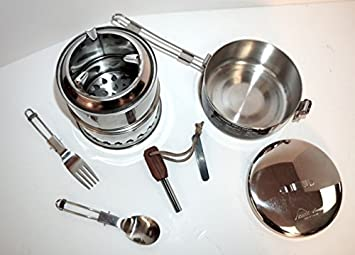 SilverFire Ultimate Scout Gasifier Twig Stove Combination Kit Includes Scout Stove, MSR Pot, Survival Fire Starter