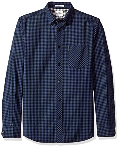 - Ben Sherman Men's Gingham Shirt, Phantom, XXL