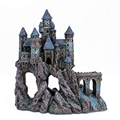The Penn Plax Castle Aquarium Decoration offers visual interest to your tank while reducing fish boredom. Painted in shades of grey, this medieval castle is perched upon a rocky landscape with a flowing waterfall underneath. This aquarium dec...