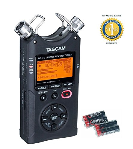 Tascam DR-40 Handheld Digital 4-track Recorder and 4 Free Universal Electronics AA Batteries with 1 Year Free Extended Warranty by Tascam