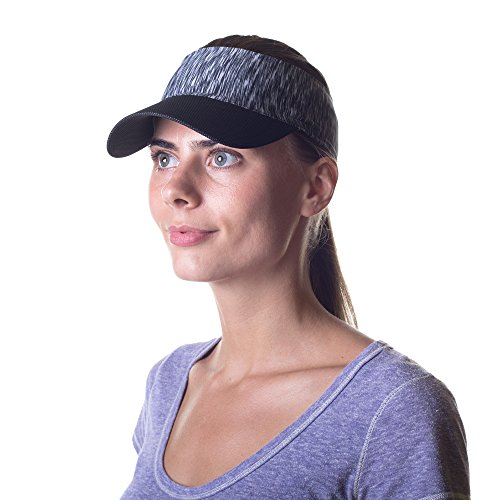 - Womens Sun Visor Hat with Ponytail Hole Head-wrap for Active Lifestyle Women (Heather Black)