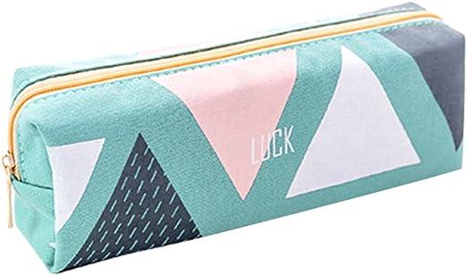 iSpchen Kit de Estilo de Patrón de Geometría Bolsa de la Escuela Estuche Bolso de Cosméticos Portalápices para Chico Chica Adolescente(Verde): Amazon.es: Belleza