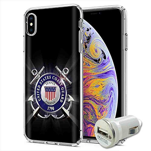 Apple iPhone Xr Case [PlusBrite] Flex Defender Soft Slim Phone Cover Case USB 1A Charger Plug Apple iPhone Xr [United States Coast Guard] Design
