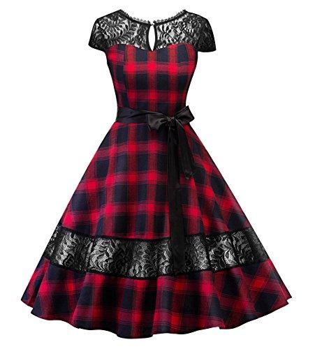 Tecrio Classy 1950's Gracy Hepburn Vintage Plaid Swing Evening Dress (Red) -