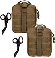 Krisvie 2Pack Tactical EMT Pouch 1000D Nylon Detachable Molle First Aid Bag for Outdoor