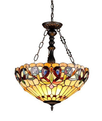 Round Cabochon Cream - Chloe Lighting CH33353VR18-UH3 Serenity Tiffany-Style Victorian 3-Light Inverted Ceiling Pendant with Shade, 24.7 x 18.1 x 18.1