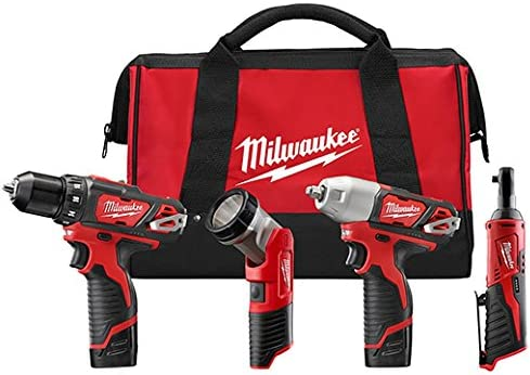 Milwaukee 2493-24 M12 3 8 Driver drill – 3 8 Impact – 1 4 Ratchet – Light with 2 Batteries