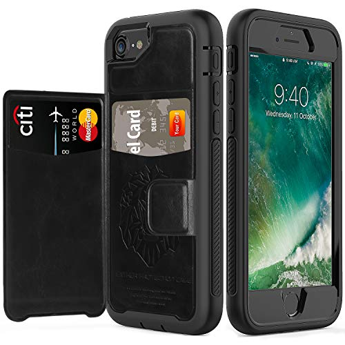 iPhone 6 7 8 Case,SXTech Full-Body Heavy Duty Protection Case with a Dual Layer Wallet designlot & Kickstand for iPhone 6 7 8 4.7 Inch PC TPU and PU Leather 3 Layer Hybrid Case-All Black (Double Protection Iphone 6 Case)