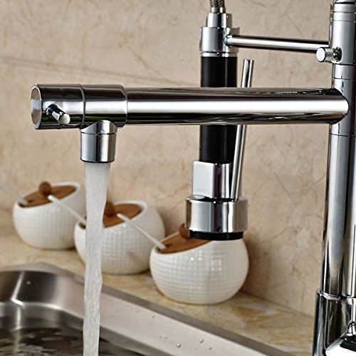 Senlesen Chrome Pull Out Down Spray Deck Mount Kitchen Torneira Cozinha Tap Mixer Cock Faucet with Hot and Cold Water by Senlesen (Image #2)