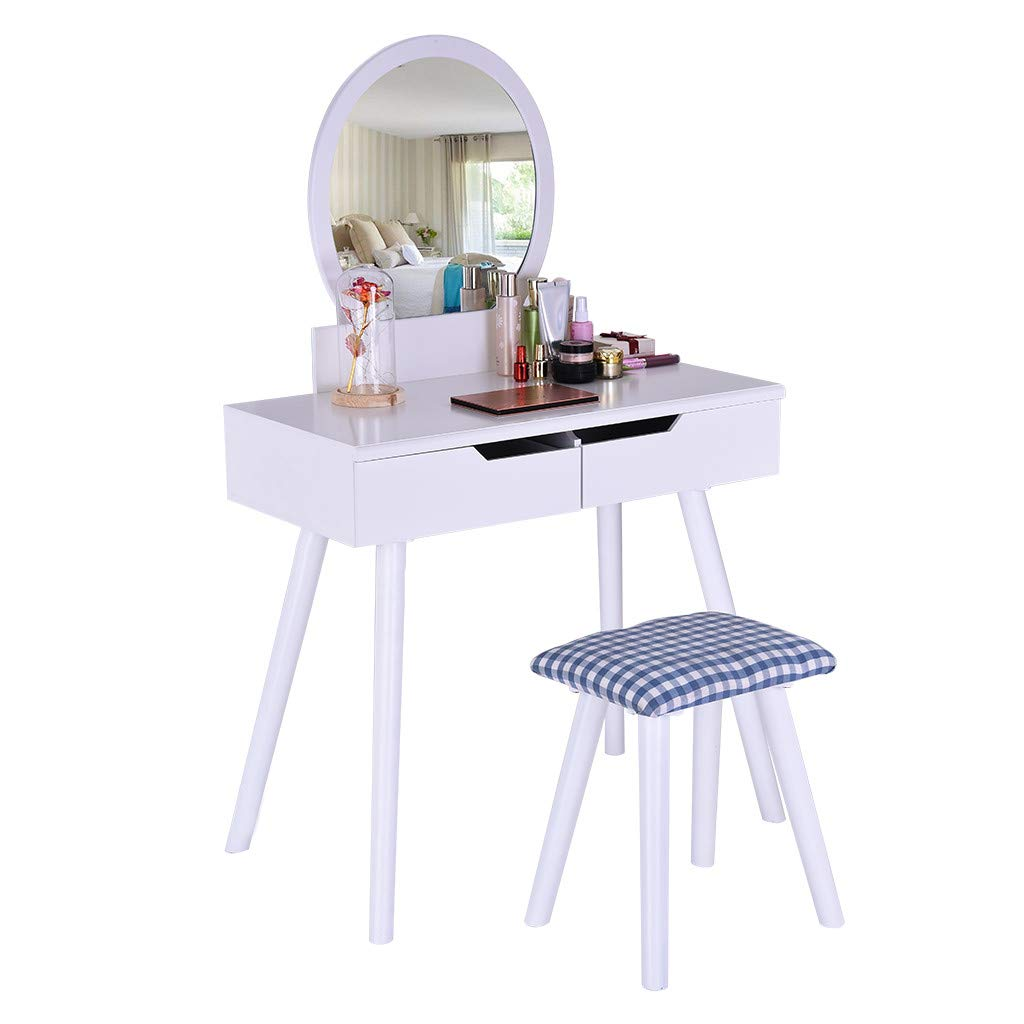 Hisoul Vanity Table Round Mirror, Makeup Vanity Set with Round Mirror 2 Large Sliding Drawers Makeup Dressing Table with Cushioned Stool, Easy Assembly, White 31.9x16.14 x50.78inch (♥ White)