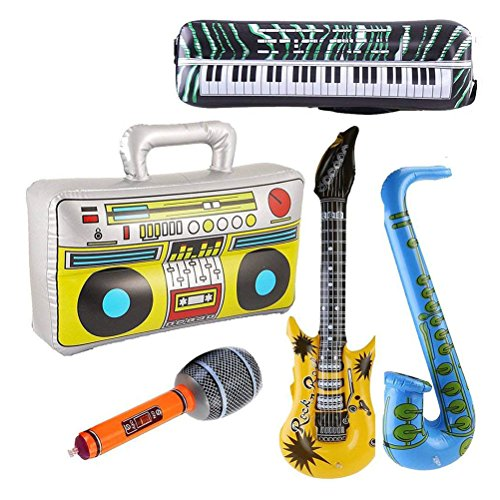 TOYMYTOY Inflatable Instrument Toys - Rock and Roll Party Supplies - Guitar, Microphone, Saxophone, Keyboard Piano, Radio 5 Piece -