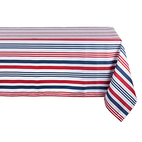 DII Spring & Summber Tablecloth, Spill Proof and Waterproof for Outdoor or Indoor Use, Host Backyard Parties, BBQs, & Family Gatherings - (60x84 - Seats 6 to 8) 4th of July Patriotic Stripe