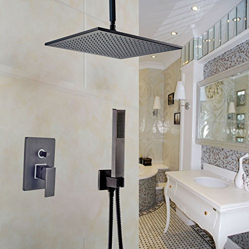 Rozin® Ceiling Mount 16 Inch Top Rain Showerhead 2-way Mixer Shower with Hand Spray Black Color