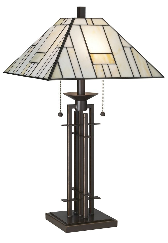 Franklin Iron Works Wrought Iron Tiffany-Style Table Lamp by Franklin Iron Works