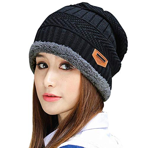 Thick Warm Winter Beanie Hat Skully Knit Hats Ribbed Cap for Women