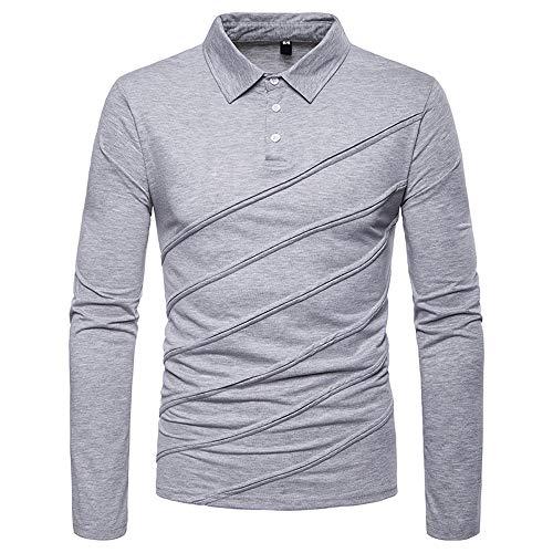 (NRUTUP Mens Shirts Polo, Fashion Men's Solid Color Diagonal Stripes Stitching Long-Sleeved T-Shirt(Gray,XS))