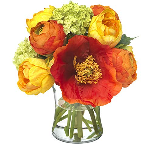 - Diane James Faux Flame Poppy and Ranunculus Bouquet in Glass Vase