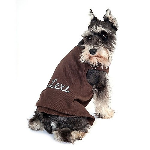 Personalized Ribbed Dog Tank SM Chocolate