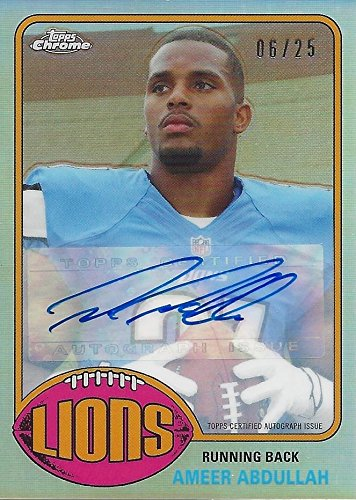 AUTOGRAPHED Ameer Abdullah 2015 Topps Chrome ROOKIE SEASON (Detroit Lions) Mini Rare Signed Insert NFL Collectible Football Trading Card #06/25
