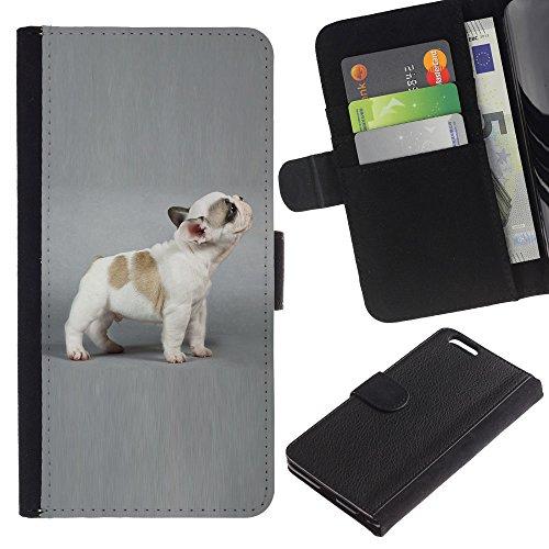 Be Good Phone Accessory // Caso del tirón Billetera de Cuero Titular de la tarjeta Carcasa Funda de Protección para Apple Iphone 6 PLUS 5.5 // French Bulldog Puppy Grey Dog