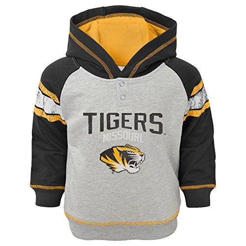 NCAA Missouri Tigers Kids Classic Stripe French Terry Hoodie, Heather Grey, Kids Medium(5-6)
