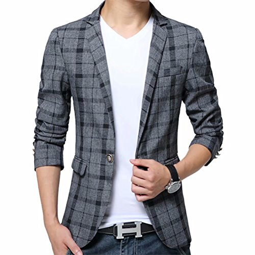 Men's Blazer Jacket Plaid Slim Fit Sport Coat One Button Notch Lapel Casual Business Coat Single Breasted Outwear by SUSIELADY (Image #5)