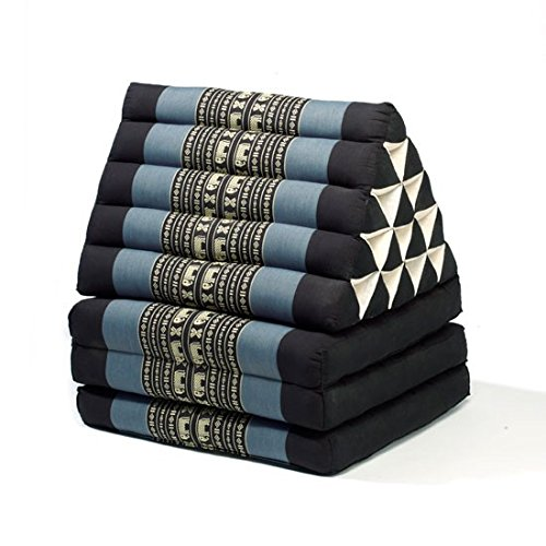 Thai style Triangle Yoga and Relaxation Lounger floor cushion Blue-black by Lucy & Co.