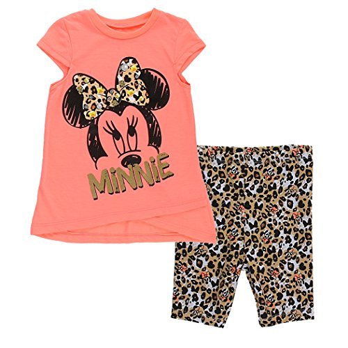 Minnie Mouse Infant Girls Leopard Print Biker Shorts Set (18M, Neon Orange) (Minnie Outfit)