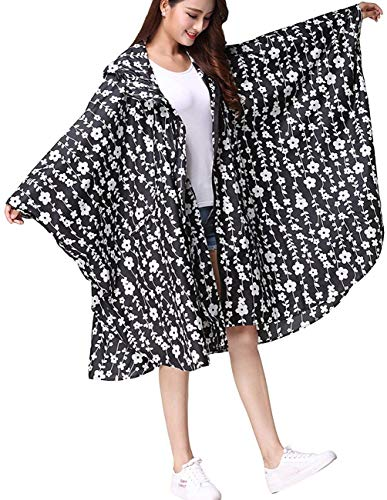 Regneponcho Señora Impermeable Mujeres Guisantes Sólido Chaqueta Battercake Color Capucha Ligero Flores Exterior Blanco Schwarz Casual qxYfwH