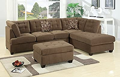 Bobkona Michelson 3-Piece Reversible Sectional with Ottoman Sofa Set