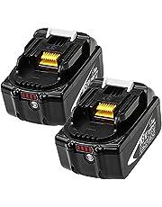 2 Pack BL1850B 18V 5,0 Ah Batteribyte för BL1850 BL1860 BL1860B BL1840 BL1830 BL1820 BL1815 BL1835 BL1845 LXT-400 med Laddningsindikator Elverktyg