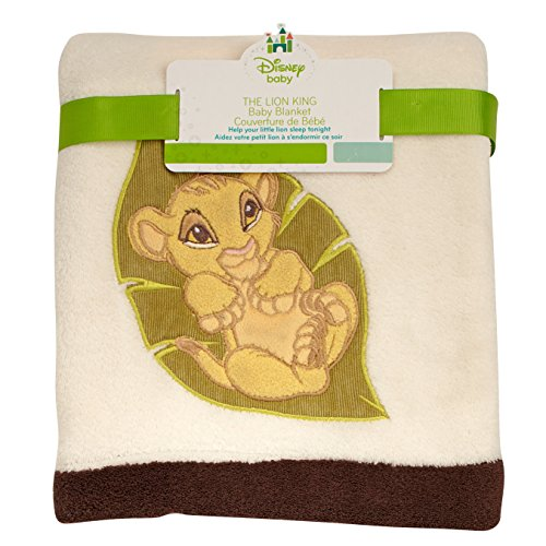 Disney Lion King Simba's Wild Adventure Super Soft Appliqued Baby Blanket, Ivory, Brown -
