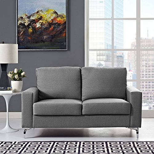 Modway Allure Contemporary Modern Upholstered Fabric Sofa in Gray