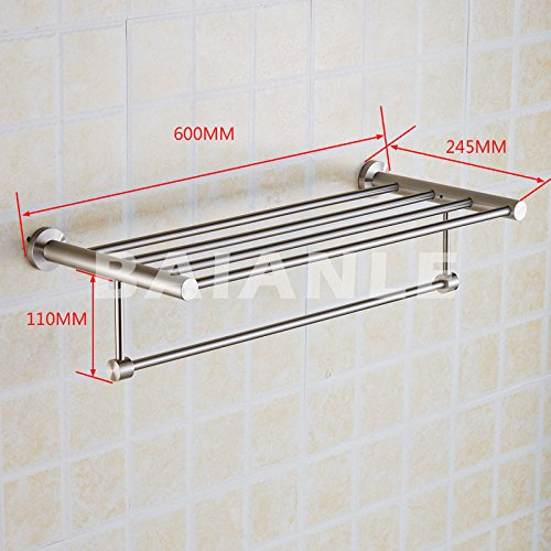 New Arrival Luxury Bathroom Accessories Stainless Steel Bath Towel Shelves Towel Rack Towel Bar Bath Hardware by Shelves store (Image #2)