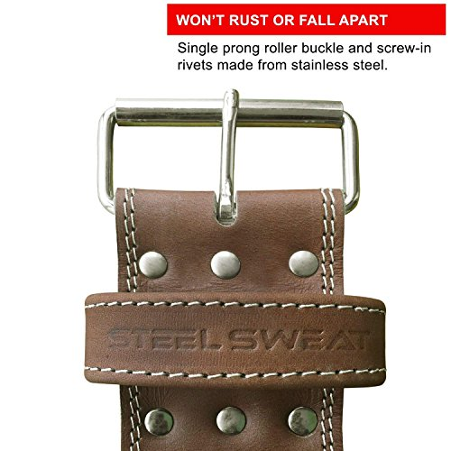 Steel Sweat Weight Lifting Belt - 4 Inches Wide by 10mm - Single Prong Powerlifting Belt That's Heavy Duty - Vegetable Tanned Leather - Hyde Large by Steel Sweat (Image #3)