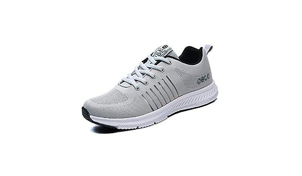 Zapatillas deportivas de hombre sneakers running calzado deportivo tenis Antideslizante a prueba de golpes Gris claro 43(Recomendar tamaño uno más): Amazon.es: Zapatos y complementos