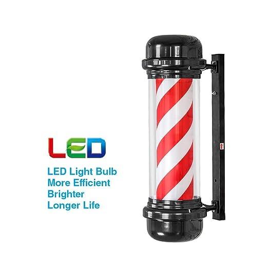 Poste de Barbero con LED Bombilla,Luminoso y Giratorio para ...
