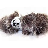 Lot of 3 x 100gr Skeins ICE YARNS Smooth Fur White Brown Shades