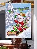 Santa Sledding Tis the Season – Large House Flag 28″ x 40″