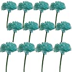 Lily-Garden-12-Stems-Artificial-Carnation-Flower-Silk-Bouquet-Turquoise