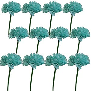 Lily Garden 12 Stems Artificial Carnation Flower Silk Bouquet (Turquoise) 7