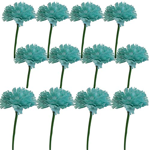 Lily Garden 12 Stems Artificial Carnation Flower Silk Bouquet (Turquoise) (Corsage Mini Carnation)
