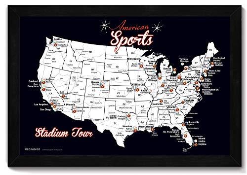 Stadium Tour - Baseball Stadium Map + Football Stadiums, Framed Push Pin Map - Includes 100 Mixed Colored Map -