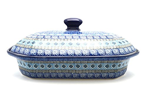 Polish Pottery Baker - Rectangular Covered - Large - Aztec Sky