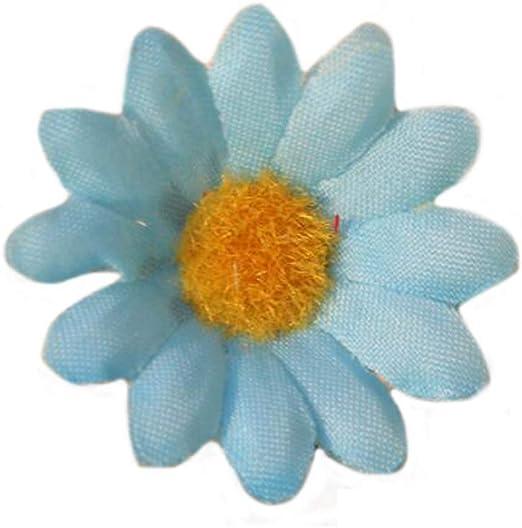 100PCS Gerbera Daisy Artificial Flowers Fabric Flowers Heads For Wedding Party DIY Decoration Craft Light Blue