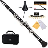 Mendini by Cecilio Bb Clarinet w/1 Year Warranty, Stand, Tuner, 10 Reeds, Pocketbook, Mouthpiece, Case, MCT-E Black Ebonite