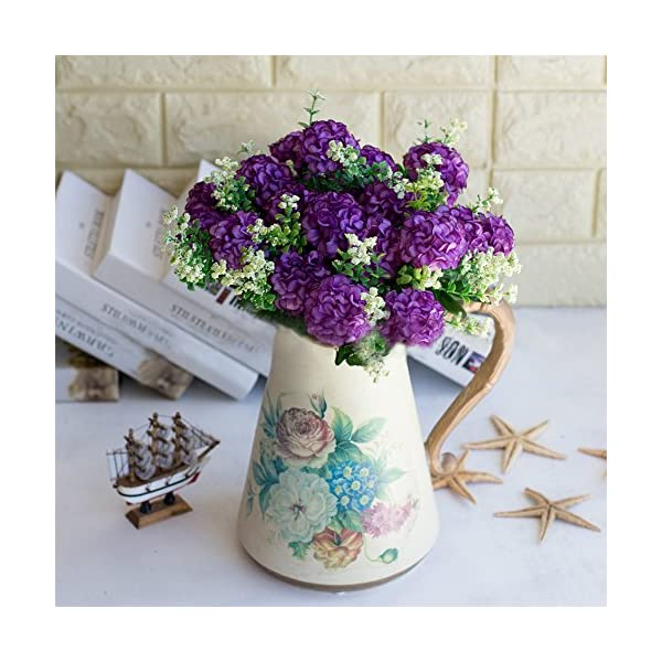JYS365 1 Bouquet Artificial Fake Chrysanthemum Flower Plant Home Office Party Decor Real Touch Fake Flowers Floral Arrangement for Office Christmas Party Wedding Bouquets Garden Purple